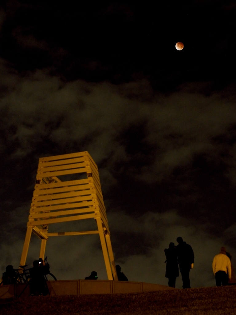 People viewing lunar eclipse